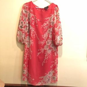 Beautiful Adrianna Papell pink floral dress